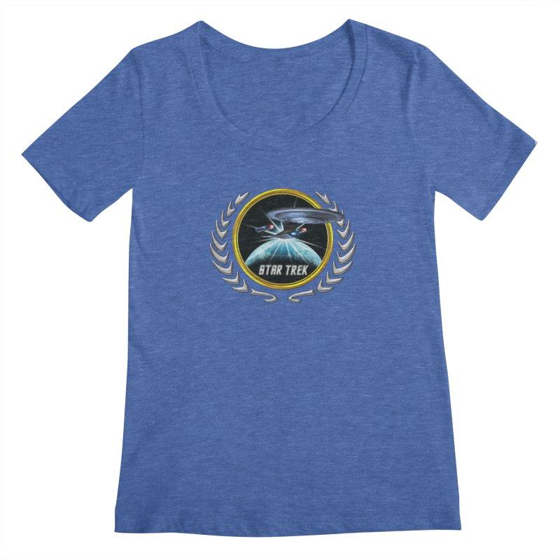 Star trek Federation of Planets Enterprise D 2 Women's Scoopneck by ratherkool's Artist Shop