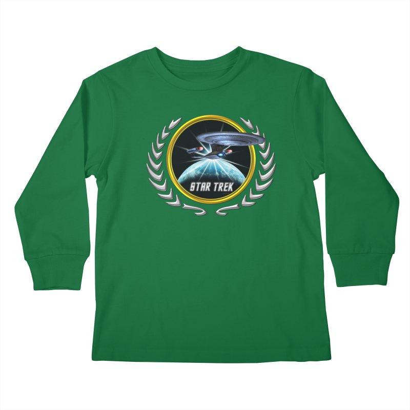 Star trek Federation of Planets Enterprise D 2 Kids Longsleeve T-Shirt by ratherkool's Artist Shop