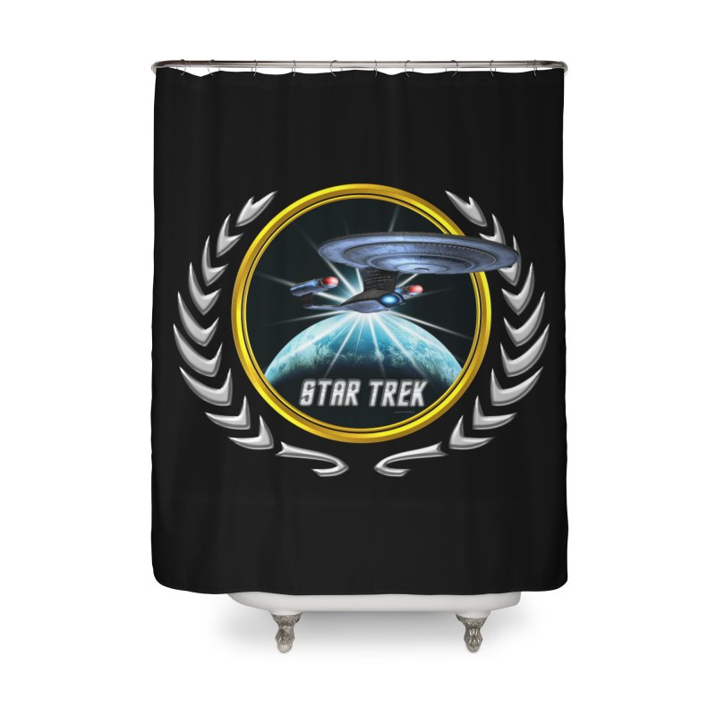 Star trek Federation of Planets Enterprise D 2 Home Shower Curtain by ratherkool's Artist Shop