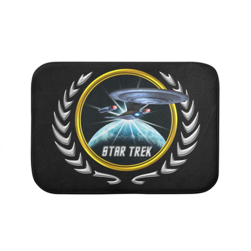 Star trek Federation of Planets Enterprise D 2 Home Bath Mat by ratherkool's Artist Shop