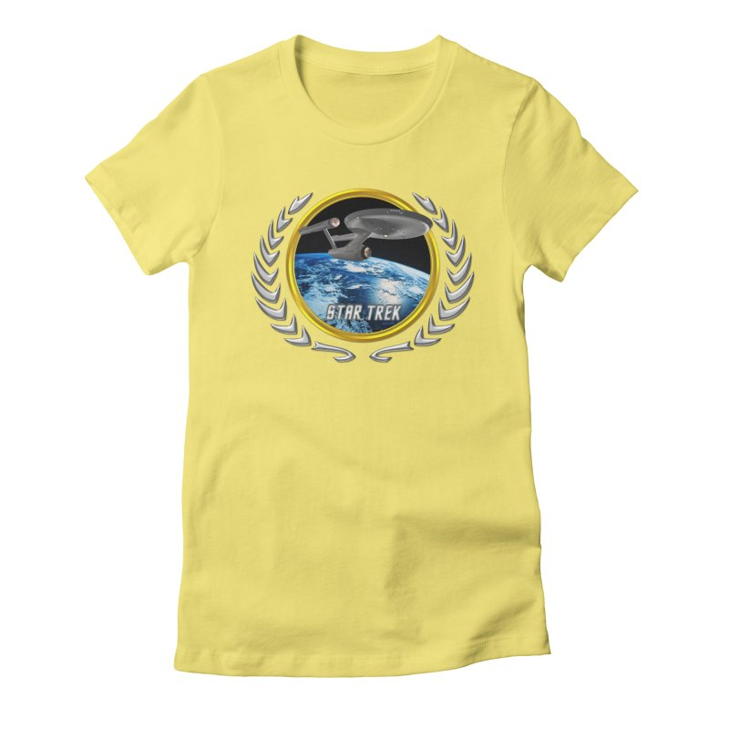Star trek Federation of Planets Enterprise 1701 old Women's Fitted T-Shirt by ratherkool's Artist Shop