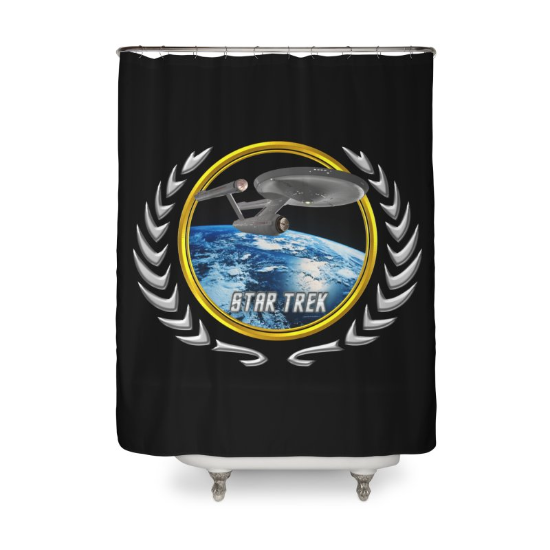 Star trek Federation of Planets Enterprise 1701 old Home Shower Curtain by ratherkool's Artist Shop