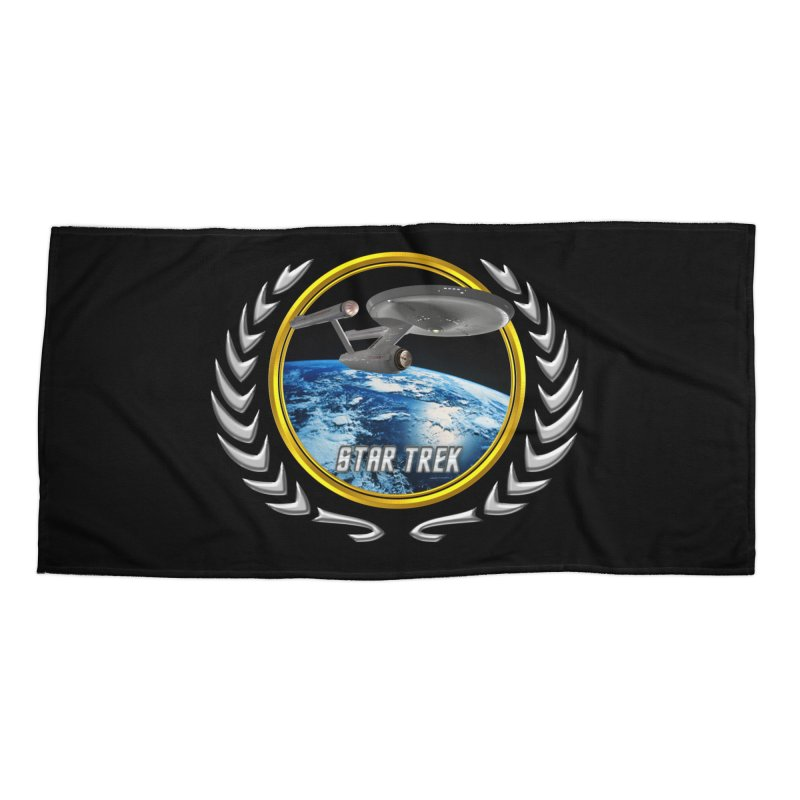Star trek Federation of Planets Enterprise 1701 old Accessories Beach Towel by ratherkool's Artist Shop