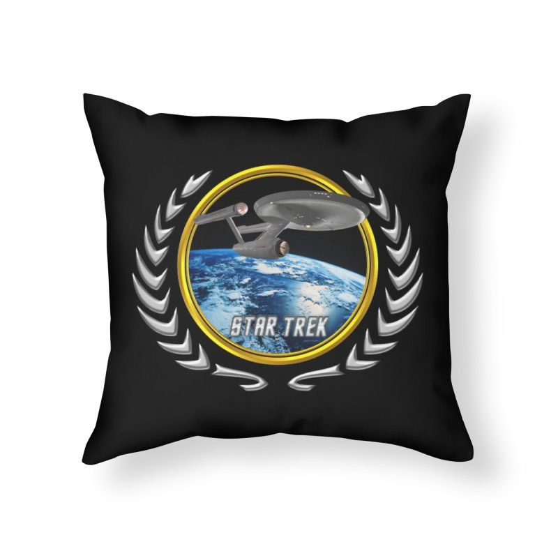 Star trek Federation of Planets Enterprise 1701 old Home Throw Pillow by ratherkool's Artist Shop