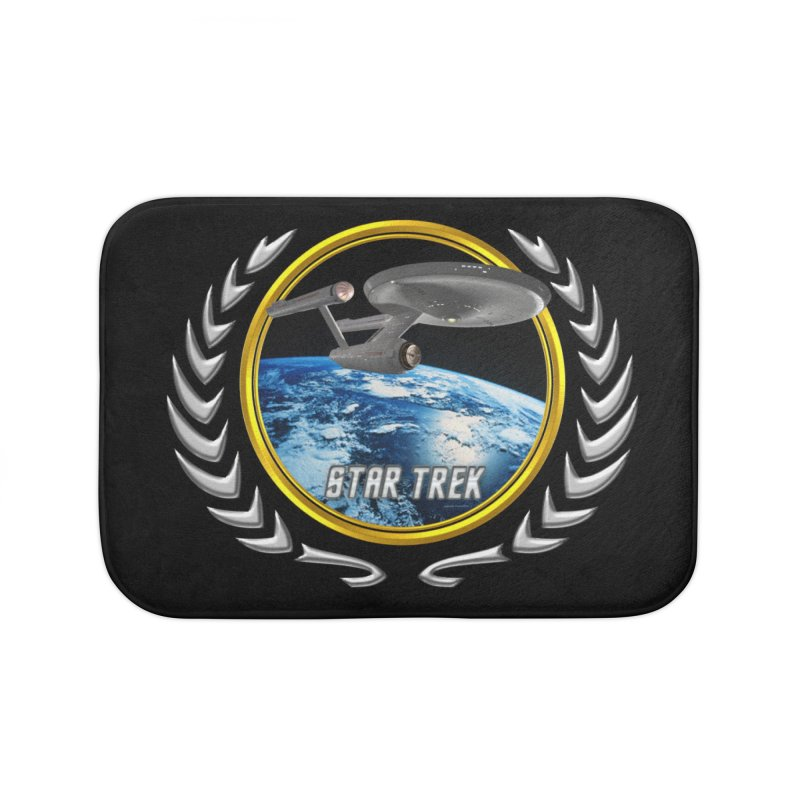 Star trek Federation of Planets Enterprise 1701 old Home Bath Mat by ratherkool's Artist Shop