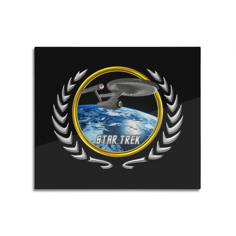 Star trek Federation of Planets Enterprise 1701 old Home Mounted Aluminum Print by ratherkool's Artist Shop