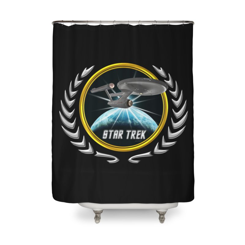 Star trek Federation of Planets Enterprise 1701 old 2 Home Shower Curtain by ratherkool's Artist Shop