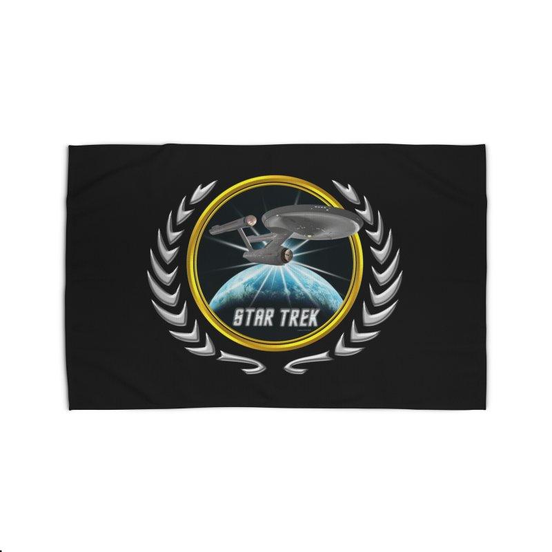 Star trek Federation of Planets Enterprise 1701 old 2 Home Rug by ratherkool's Artist Shop
