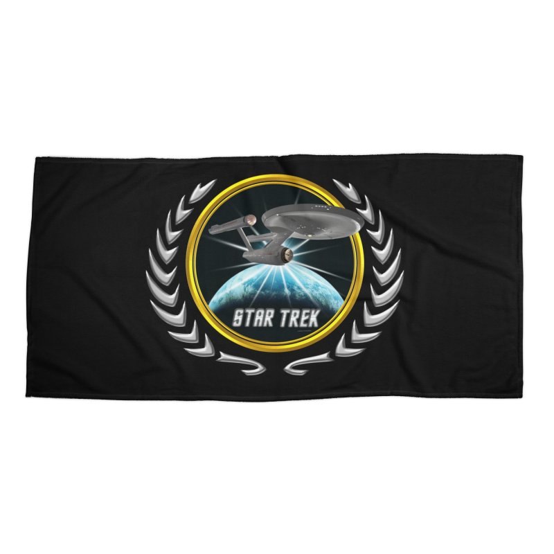 Star trek Federation of Planets Enterprise 1701 old 2 Accessories Beach Towel by ratherkool's Artist Shop