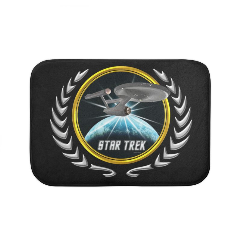 Star trek Federation of Planets Enterprise 1701 old 2 Home Bath Mat by ratherkool's Artist Shop