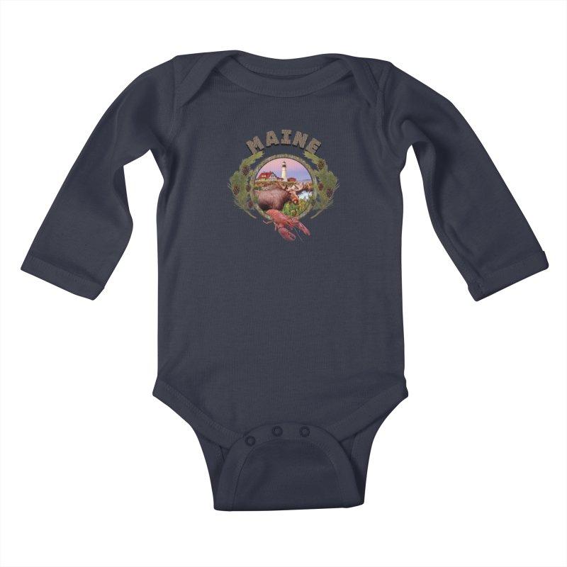 Maine Moose Kids Baby Longsleeve Bodysuit by ratherkool's Artist Shop