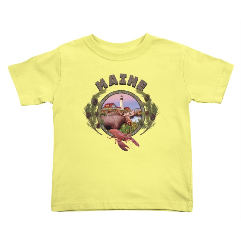 Maine Moose Kids Toddler T-Shirt by ratherkool's Artist Shop
