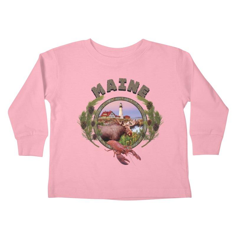 Maine Moose Kids Toddler Longsleeve T-Shirt by ratherkool's Artist Shop