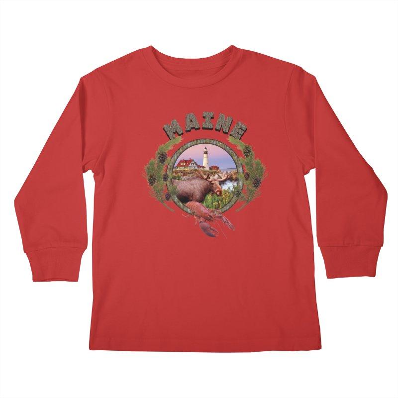 Maine Moose Kids Longsleeve T-Shirt by ratherkool's Artist Shop