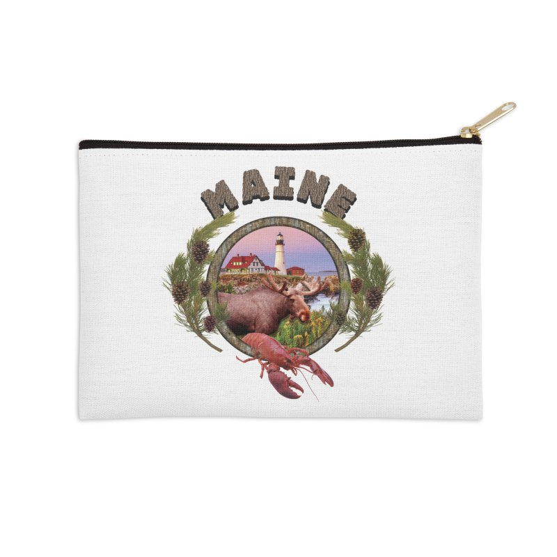 Maine Moose Accessories Zip Pouch by ratherkool's Artist Shop