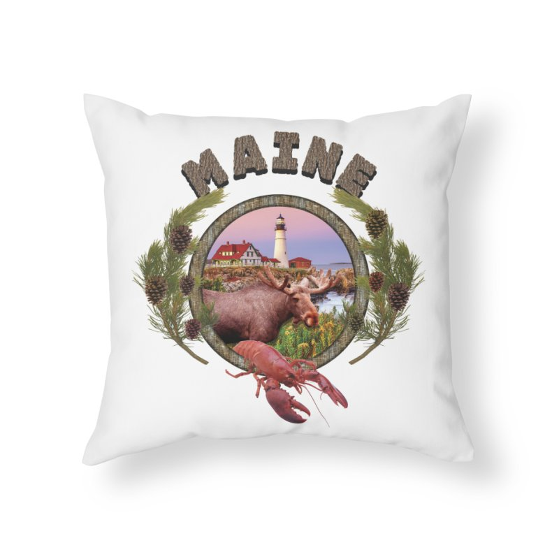 Maine Moose Home Throw Pillow by ratherkool's Artist Shop