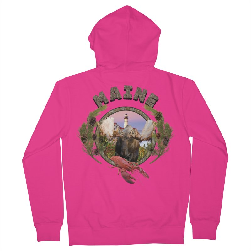 Maine Moose 2 Men's Zip-Up Hoody by ratherkool's Artist Shop