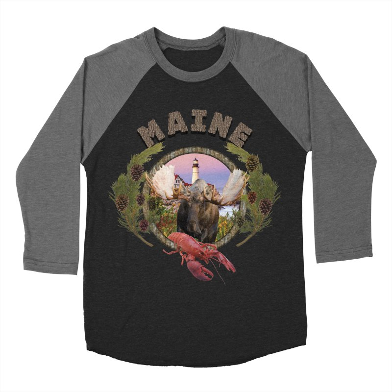 Maine Moose 2 Men's Baseball Triblend T-Shirt by ratherkool's Artist Shop