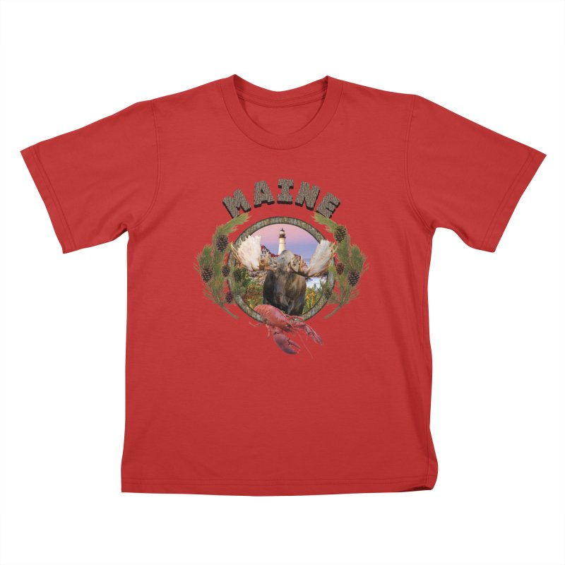 Maine Moose 2 Kids T-Shirt by ratherkool's Artist Shop