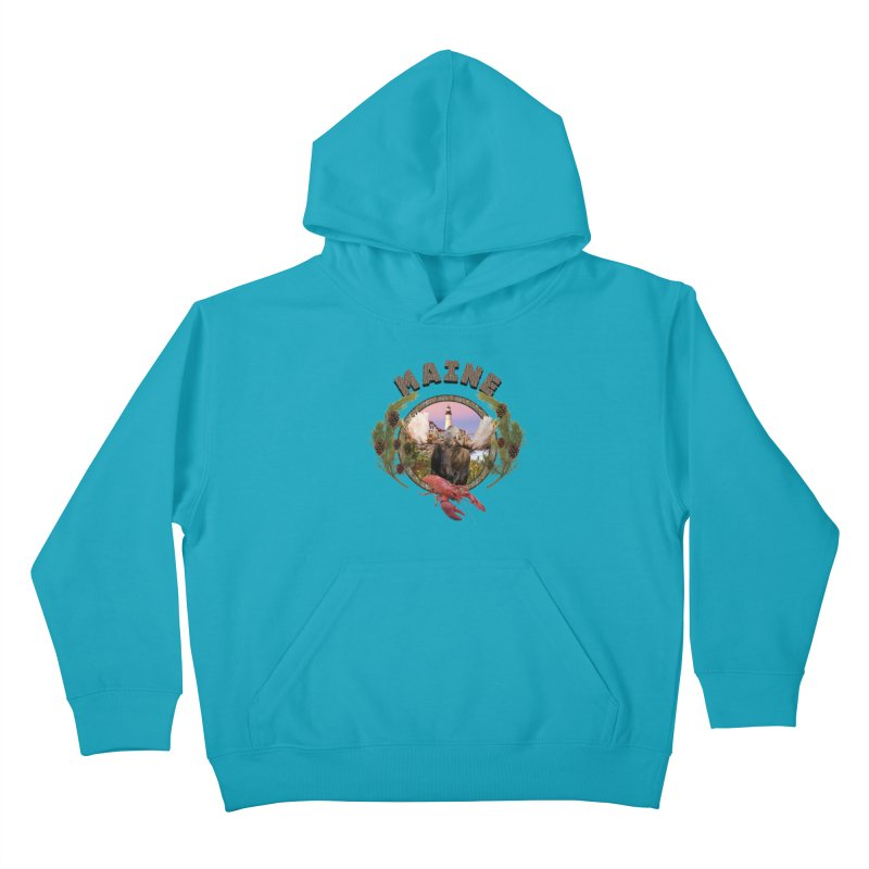 Maine Moose 2 Kids Pullover Hoody by ratherkool's Artist Shop