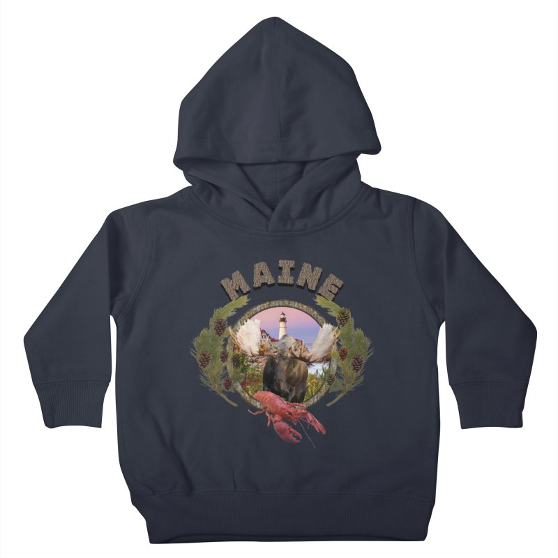 Maine Moose 2 Kids Toddler Pullover Hoody by ratherkool's Artist Shop