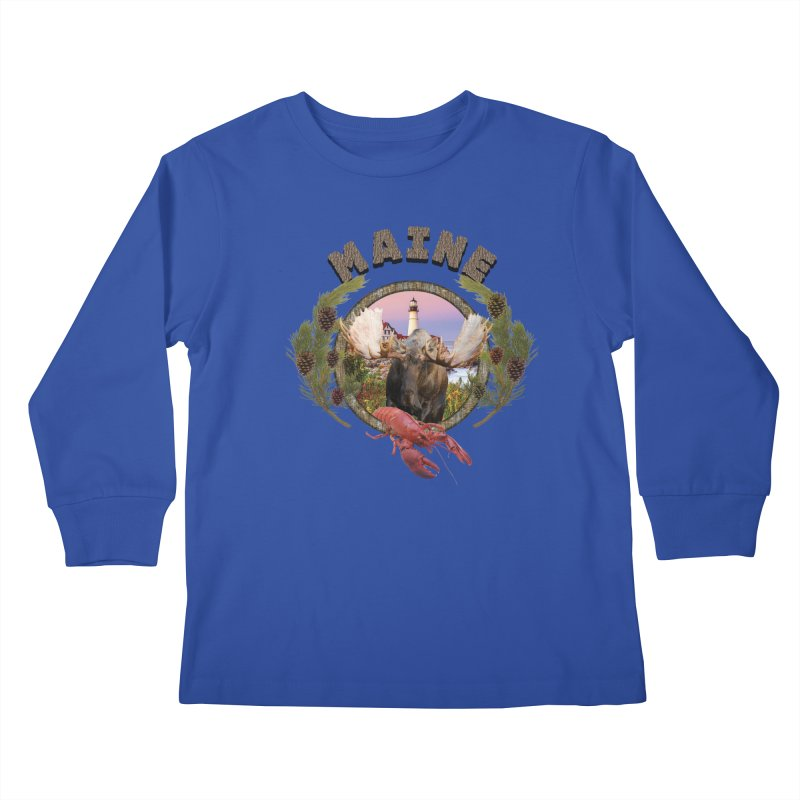 Maine Moose 2 Kids Longsleeve T-Shirt by ratherkool's Artist Shop