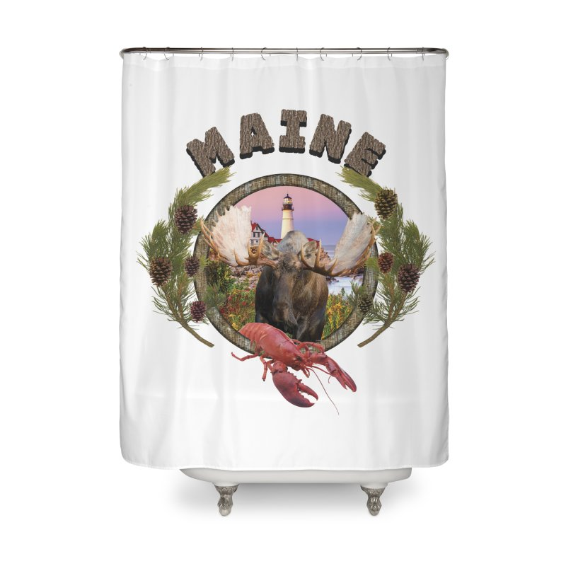 Maine Moose 2 Home Shower Curtain by ratherkool's Artist Shop