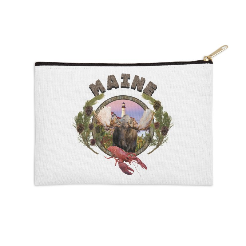Maine Moose 2 Accessories Zip Pouch by ratherkool's Artist Shop
