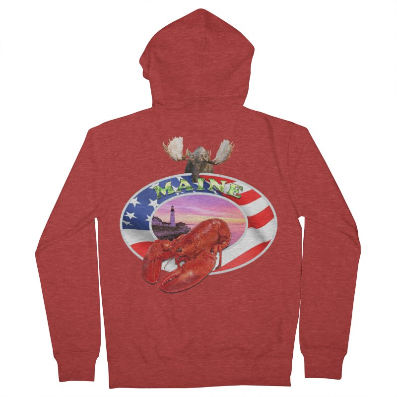 Maine Lobster Logo Men's Zip-Up Hoody by ratherkool's Artist Shop