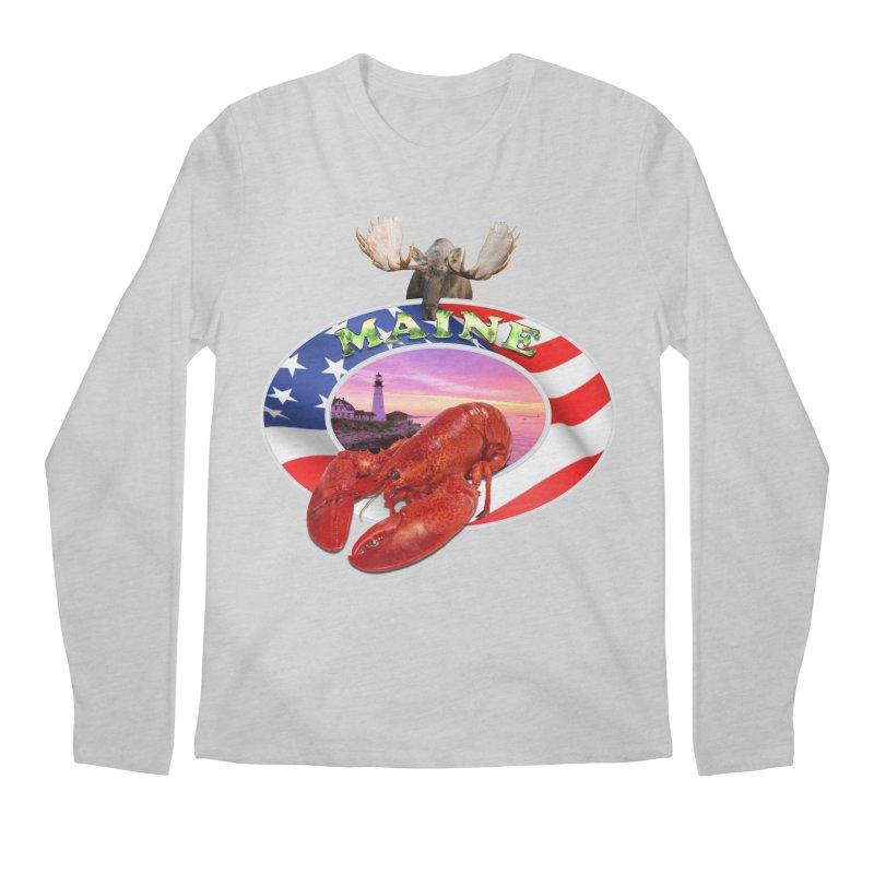 Maine Lobster Logo Men's Longsleeve T-Shirt by ratherkool's Artist Shop