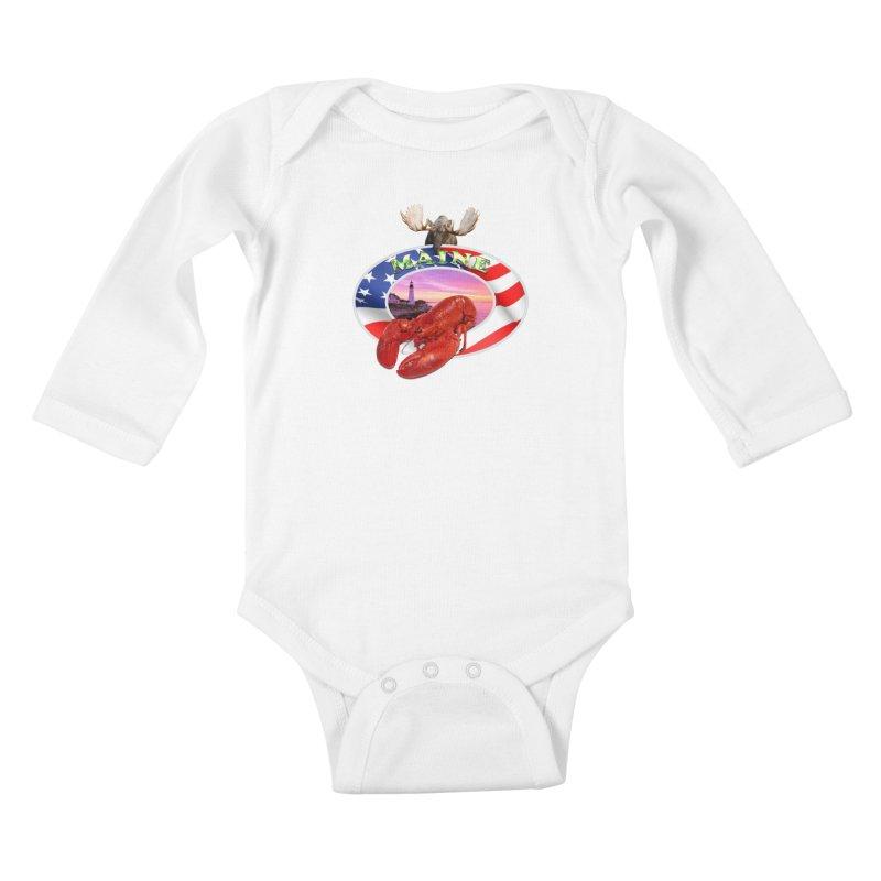 Maine Lobster Logo Kids Baby Longsleeve Bodysuit by ratherkool's Artist Shop