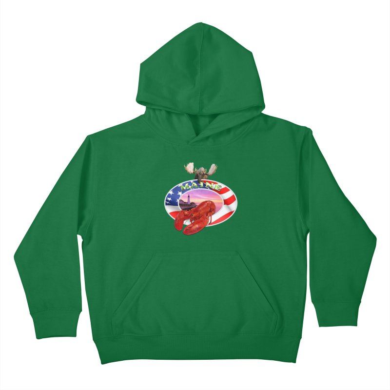 Maine Lobster Logo Kids Pullover Hoody by ratherkool's Artist Shop