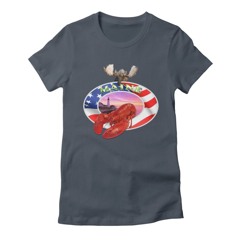 Maine Lobster Logo Women's Fitted T-Shirt by ratherkool's Artist Shop