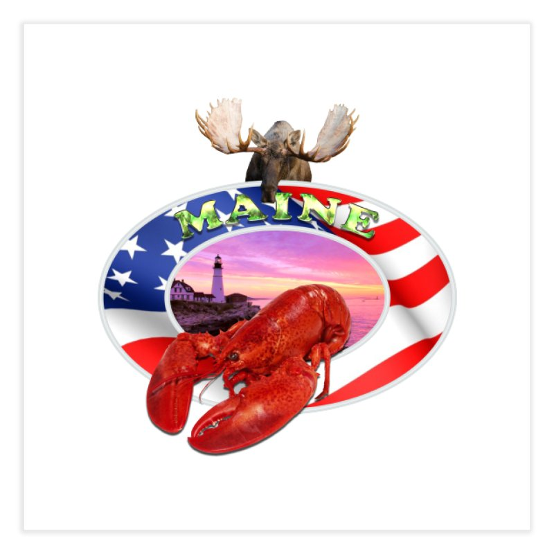 Maine Lobster Logo Home Fine Art Print by ratherkool's Artist Shop
