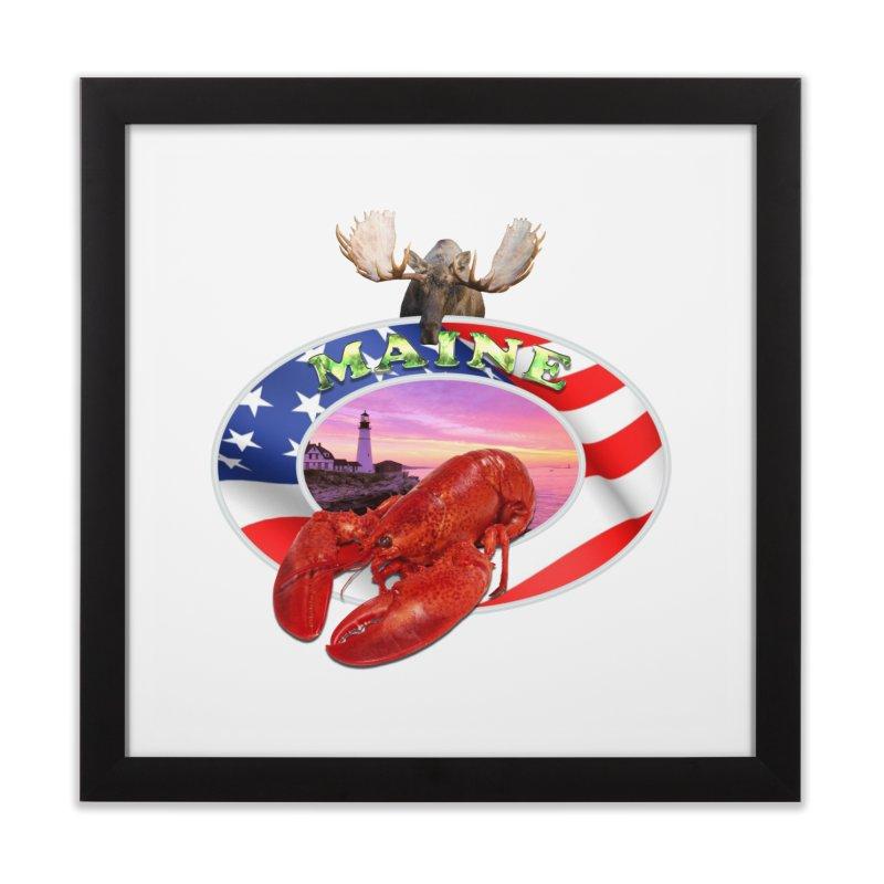 Maine Lobster Logo Home Framed Fine Art Print by ratherkool's Artist Shop