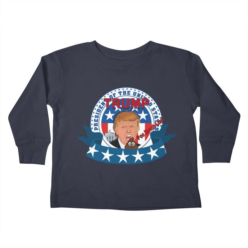 President Trump Poo Mouth Liar Kids Toddler Longsleeve T-Shirt by ratherkool's Artist Shop