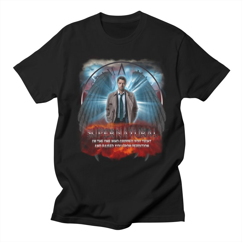 Supernatural Castiel  in Men's T-Shirt Black by ratherkool's Artist Shop