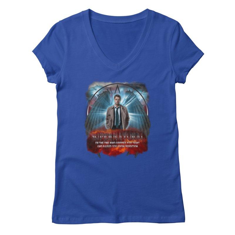 Supernatural Castiel  Women's V-Neck by ratherkool's Artist Shop