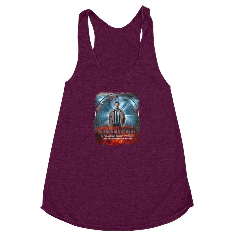 Supernatural Castiel  Women's Racerback Triblend Tank by ratherkool's Artist Shop