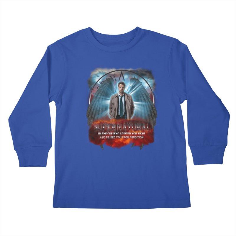 Supernatural Castiel  Kids Longsleeve T-Shirt by ratherkool's Artist Shop