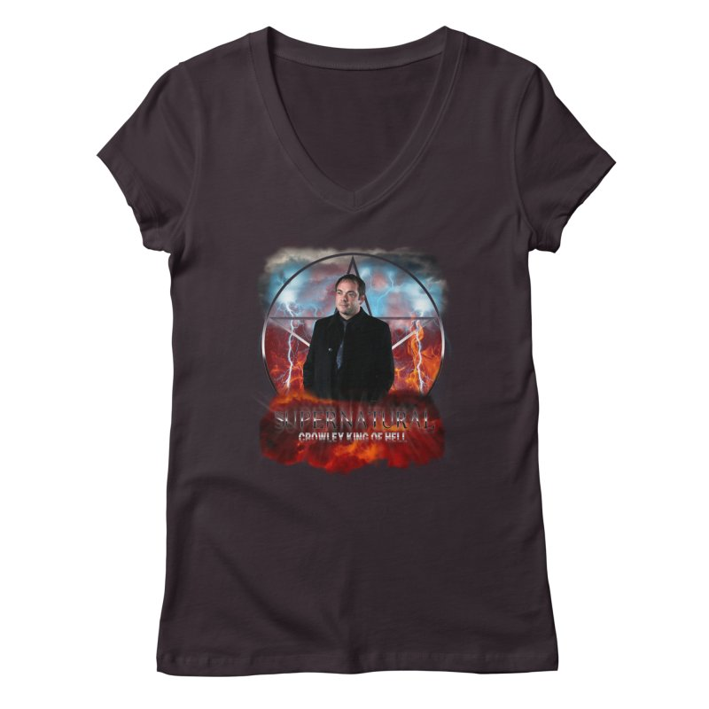 Supernatural Crowley King of Hell Women's V-Neck by ratherkool's Artist Shop