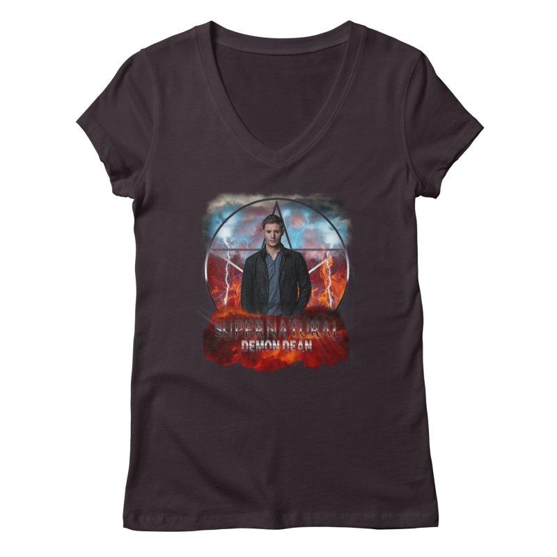 Supernatural Demon Dean Threadless Women's V-Neck by ratherkool's Artist Shop