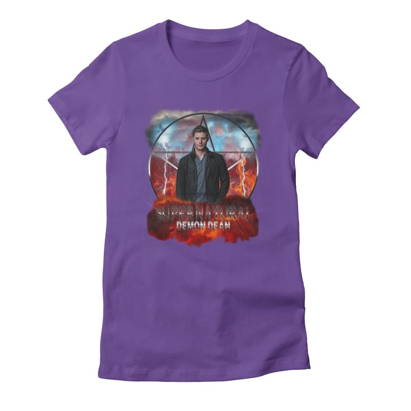 Supernatural Demon Dean Threadless in Women's Fitted T-Shirt Purple by ratherkool's Artist Shop
