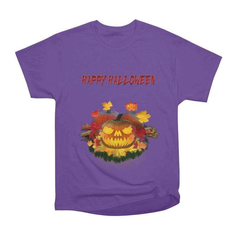Autumn Leaves Pumpkin Men's Heavyweight T-Shirt by ratherkool's Artist Shop