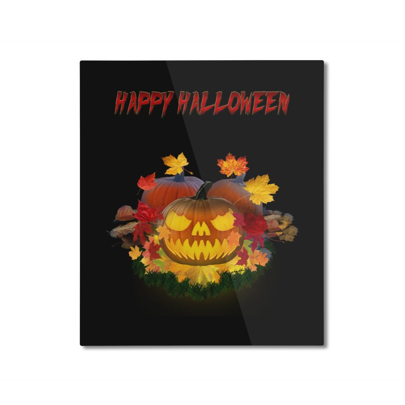 Autumn Leaves Pumpkin Home Mounted Aluminum Print by ratherkool's Artist Shop