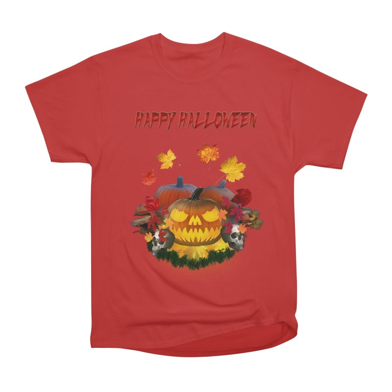 Autumn Leaves Pumpkin Skulls Men's Heavyweight T-Shirt by ratherkool's Artist Shop