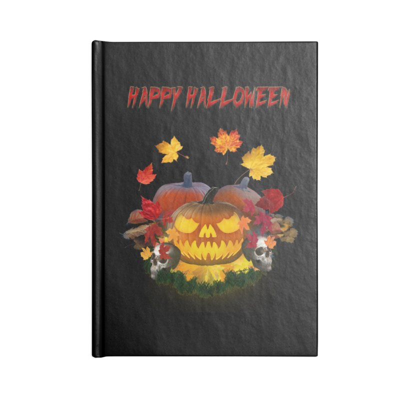 Autumn Leaves Pumpkin Skulls Accessories Notebook by ratherkool's Artist Shop