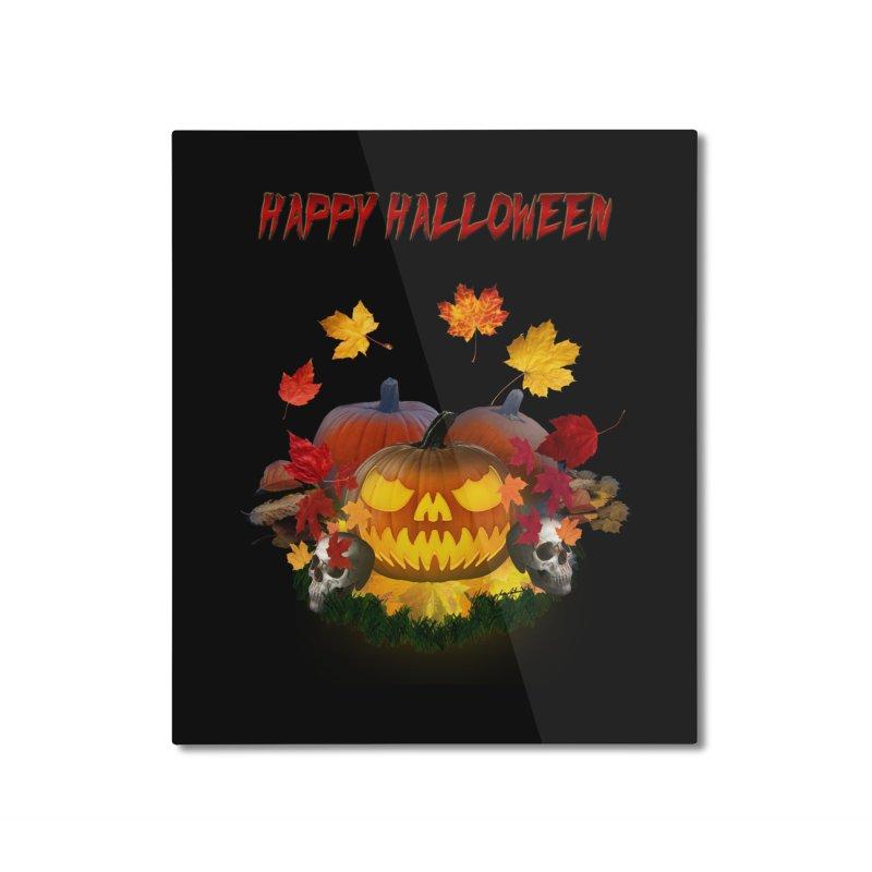Autumn Leaves Pumpkin Skulls Home Mounted Aluminum Print by ratherkool's Artist Shop