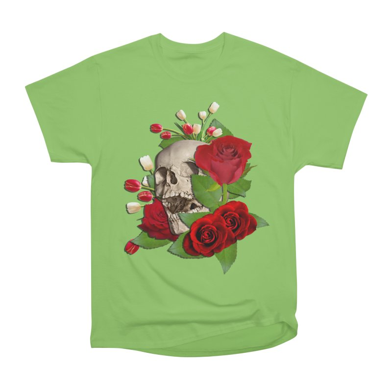 Skull Bed of Roses Men's Heavyweight T-Shirt by ratherkool's Artist Shop