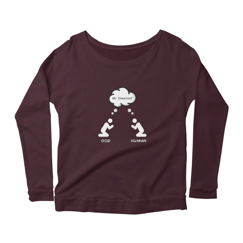 Who created whom? Women's Scoop Neck Longsleeve T-Shirt by Rational Tees